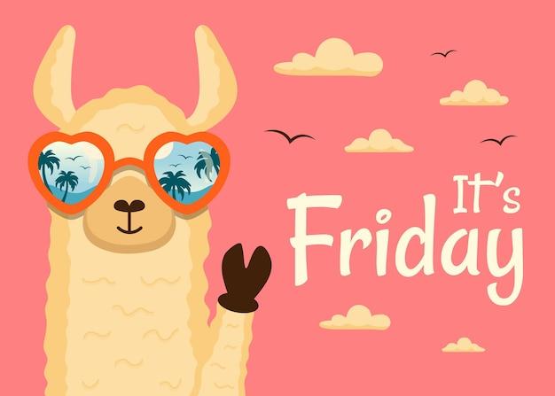 金曜日の幸せなラマ動物です 無料ベクター
