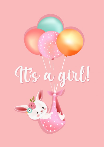 It's a girl baby shower greeting card Premium Vector