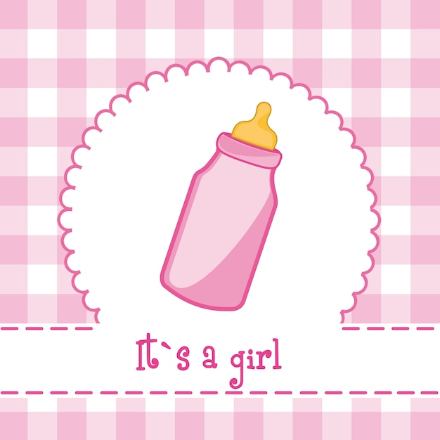 It´s a girl card with bottle baby baby shower Premium Vector