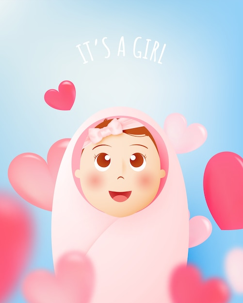 It's a girl. cute baby girl with pastel scheme and paper art vector illustration Premium Vector