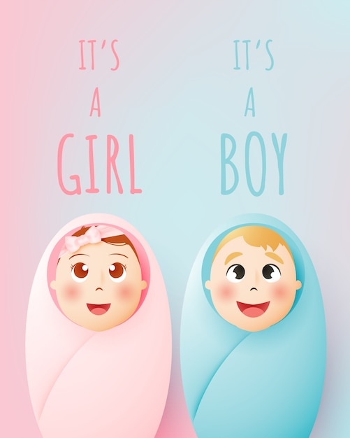 It's a girl, it's a boy. cute baby boy and girl with pastel scheme and paper art vector illustration Premium Vector