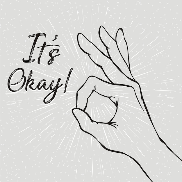It's okay hand sign Premium Vector