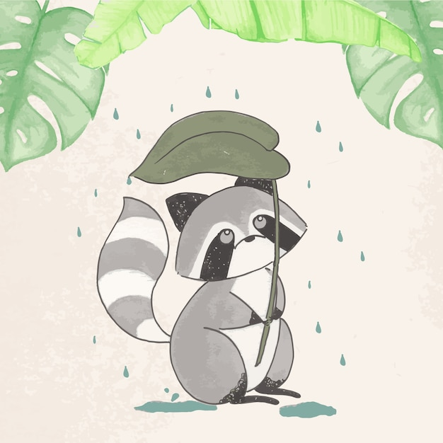 It's rainy day for a racoon illustration Premium Vector