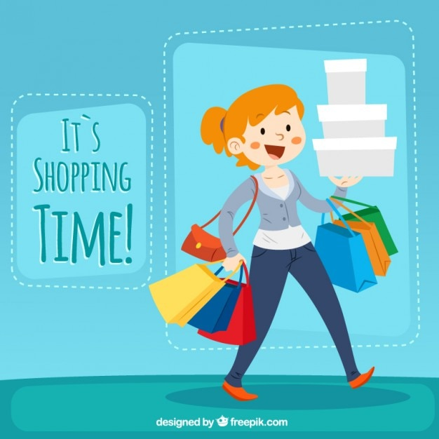 It's shopping time illustration Free Vector
