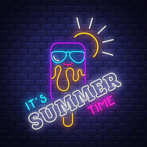 It's summer time neon lettering Premium Vector