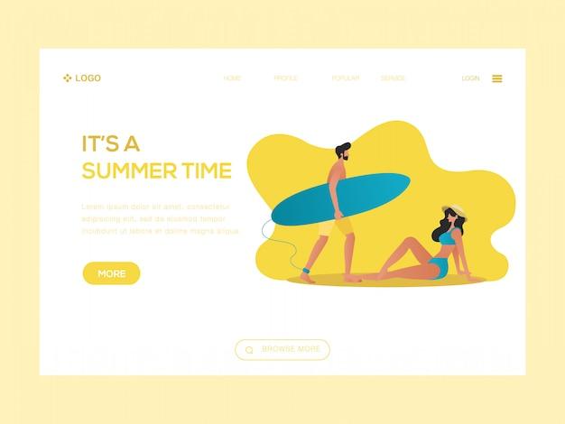 It's a summer time web illustration Premium Vector