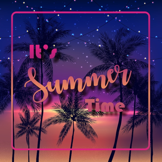 It's summer time with palm trees at night background Premium Vector