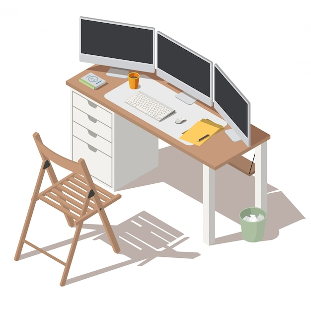 It specialist workplace with monitors vector Free Vector