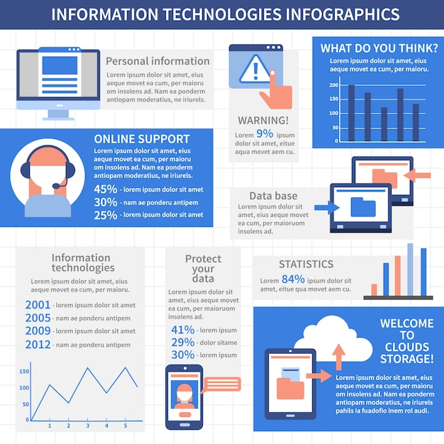 It technologies infographics layout Free Vector