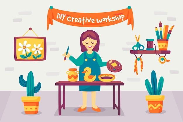 Do it yourself crafting and painting workshop Free Vector