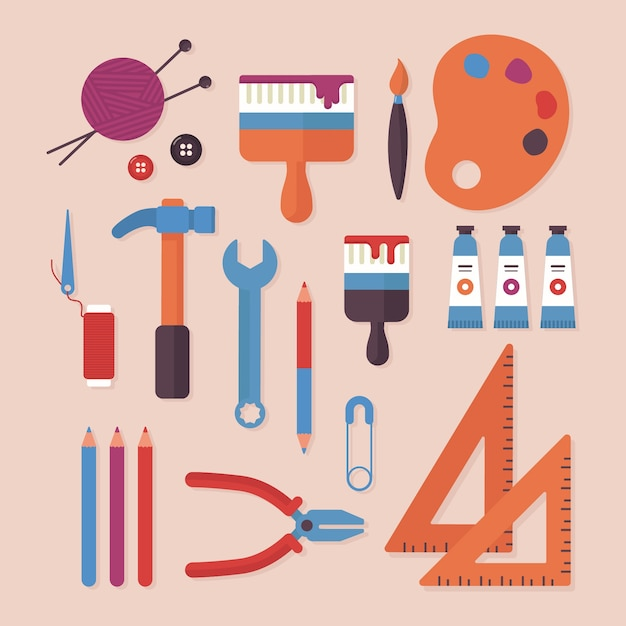 Do it yourself paint brushes and colours Free Vector