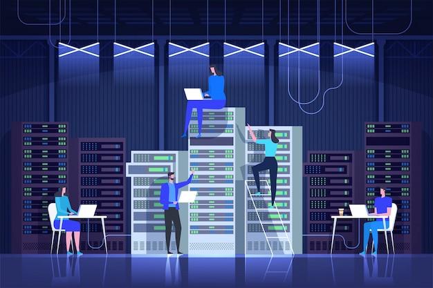 Серверная комната, системное администрирование, центр управления, it технологии Premium векторы