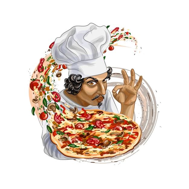 Итальянский повар держит пиццу. реалистичные векторные иллюстрации красок Premium векторы