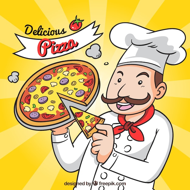 Italian chef with pizza background