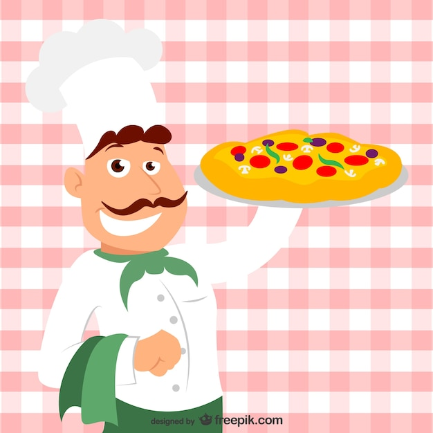 Italian chef with a pizza Free Vector