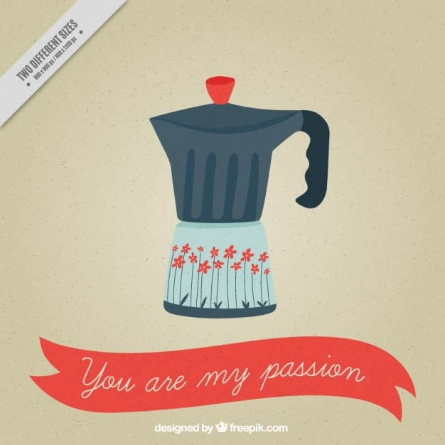 Italian Coffee Maker Vector : Italian coffee maker with love message Vector Free Download