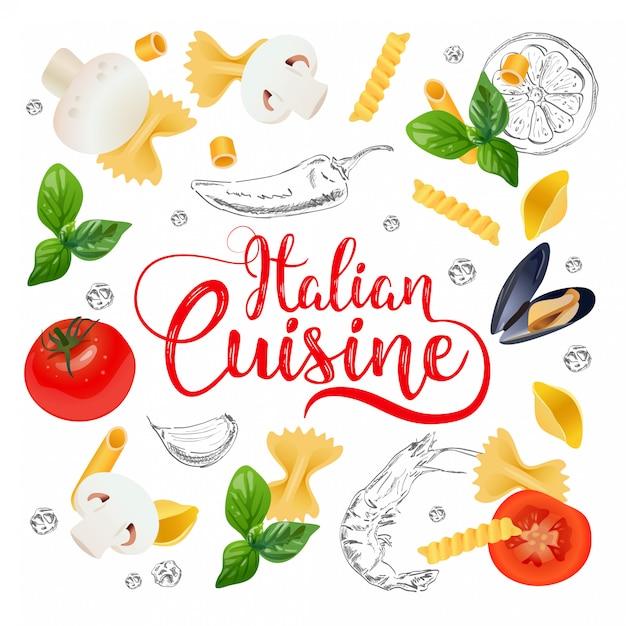 Italian cuisine background. Premium Vector