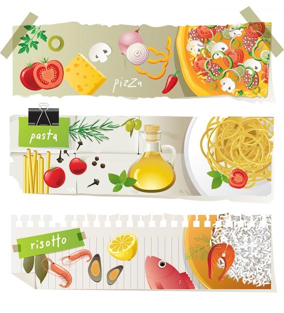 Набор баннеров блюд итальянской кухни Premium векторы