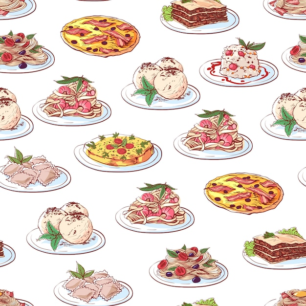 Italian cuisine dishes pattern on white background Premium Vector