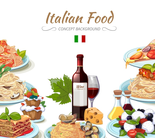 Italian cuisine food background. cooking lunch pasta, spaghetti and cheese, oil and wine. vector illustration Free Vector