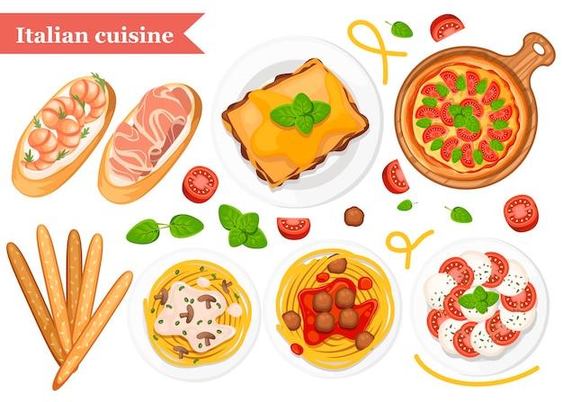 Итальянская кухня. пицца, спагетти, ризотто, брускетта и гриссини. классическая итальянская еда на тарелках и на деревянной доске. плоский рисунок на белом фоне. Premium векторы