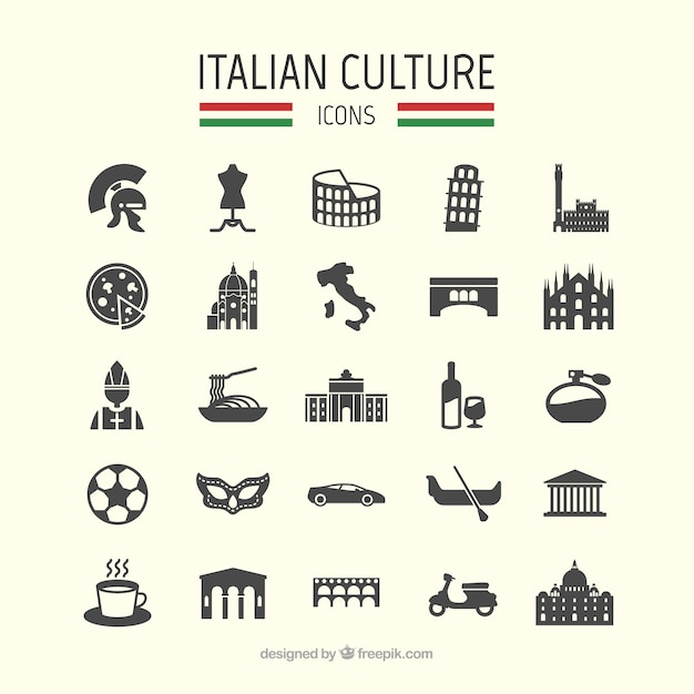 Italian culture icons Free Vector