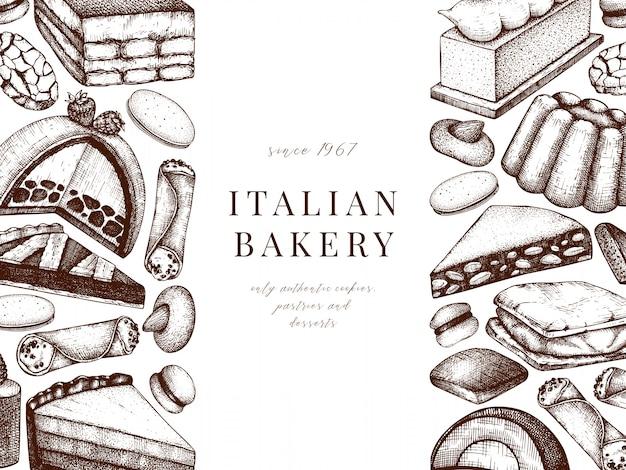 Итальянские десерты, выпечка, меню печенья. нарисованная рукой иллюстрация эскиза выпечки. пекарня баннер. винтажные итальянские сладкие блюда фон для доставки быстрого питания, кафе, меню ресторана. Premium векторы