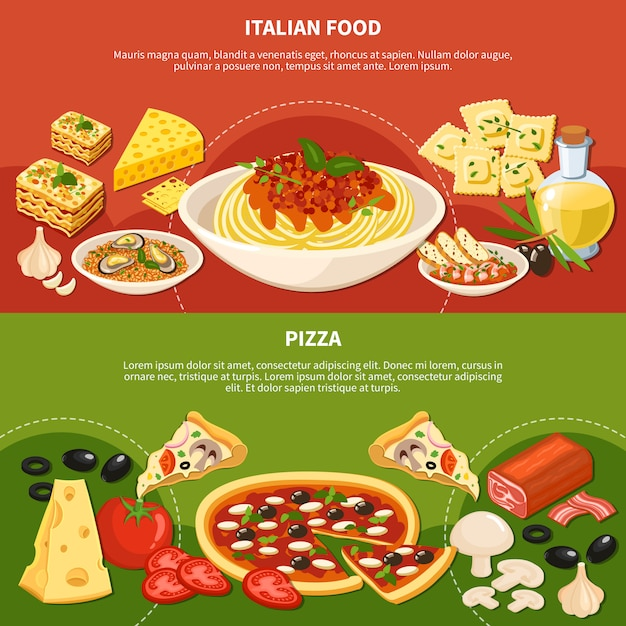 Italian dishes horizontal banners Vector | Free Download