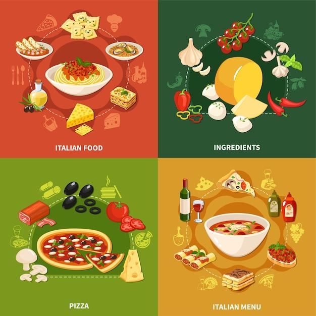 Набор концепций итальянской кухни 2x2 Бесплатные векторы