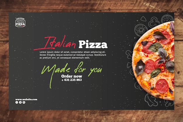 Шаблон баннера итальянской кухни Бесплатные векторы