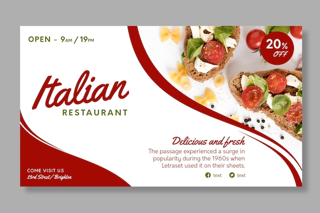이탈리아 음식 배너 서식 파일 무료 벡터