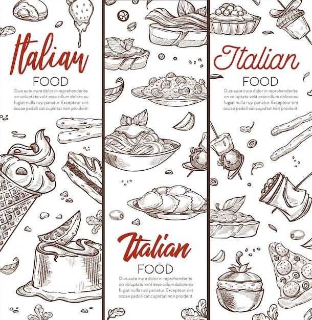 Итальянская еда баннер с рисованной эскизы и текст Premium векторы