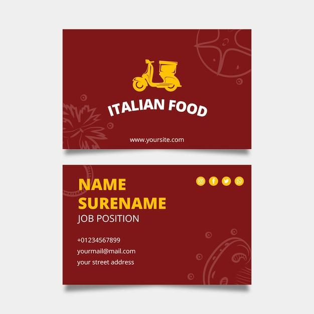 Шаблон визитной карточки итальянской кухни Бесплатные векторы