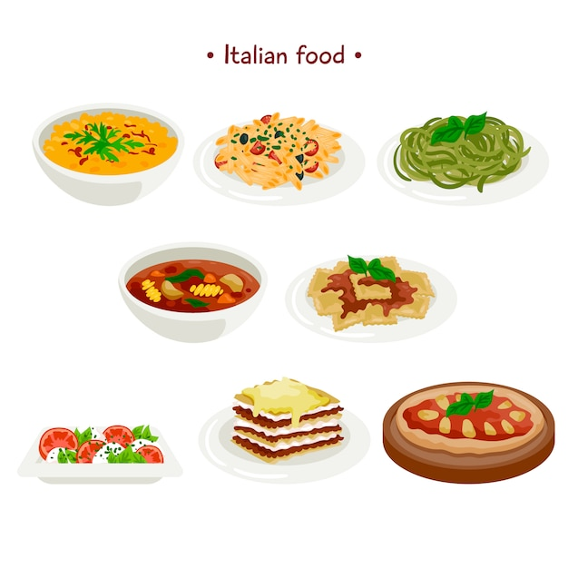 Italian food collection Free Vector