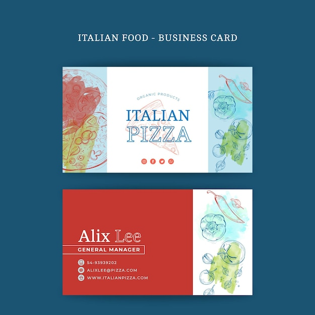 Italian food double-sided businesscard h Free Vector