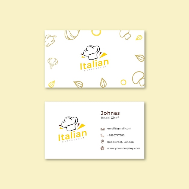 Italian food double-sided businesscard h Premium Vector