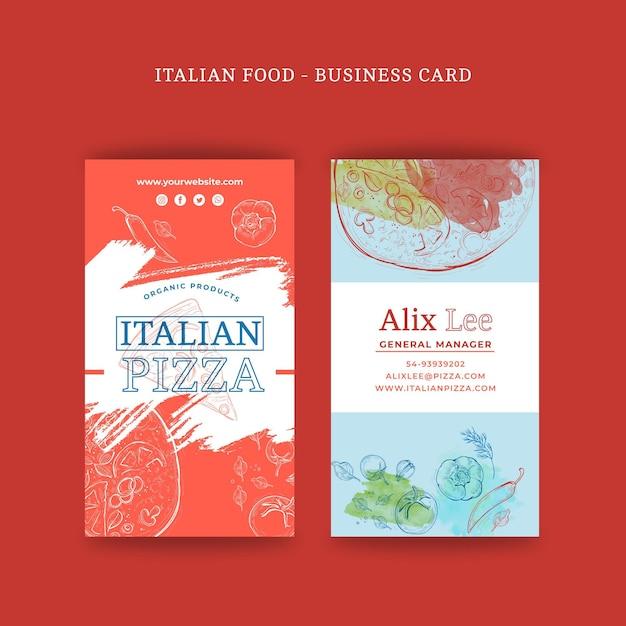 Biglietto da visita bifacciale cibo italiano v Vettore gratuito