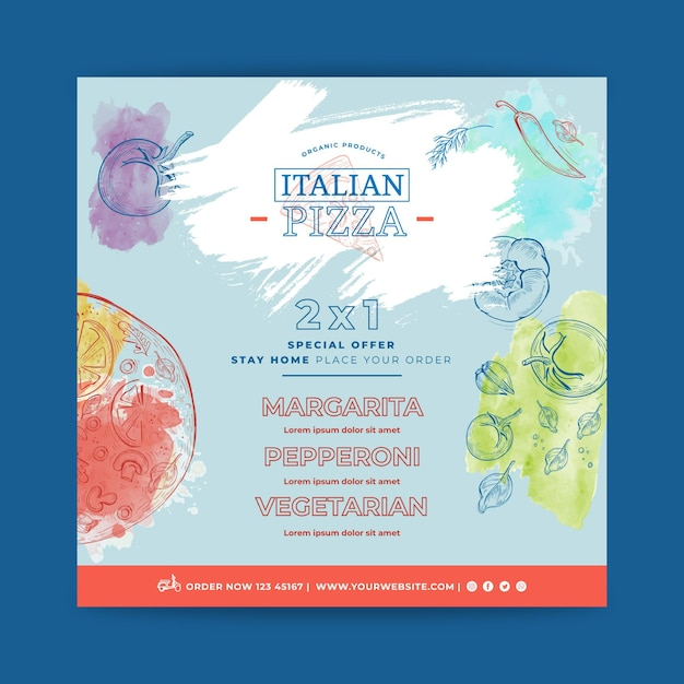 Italian food flyer square Free Vector