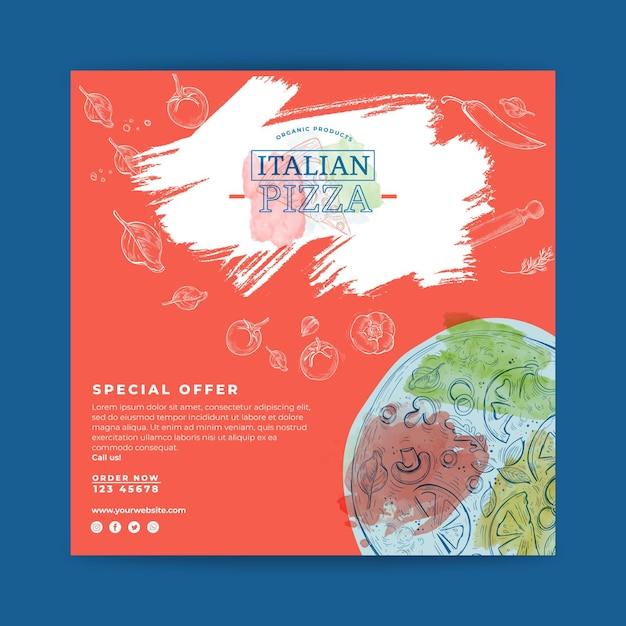 Italian food flyer square Premium Vector