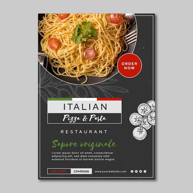 Modello di volantino di cibo italiano Vettore gratuito