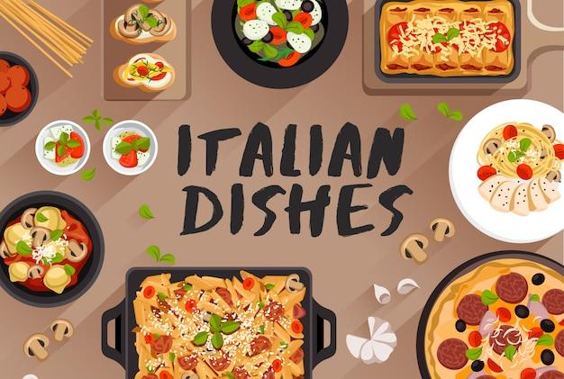 Итальянская еда еда иллюстрация в вид сверху векторные иллюстрации Premium векторы
