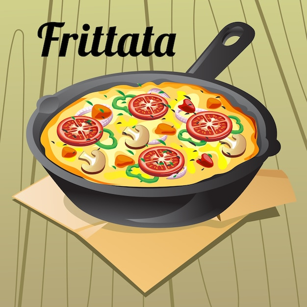 Italian food frittata illustration Premium Vector