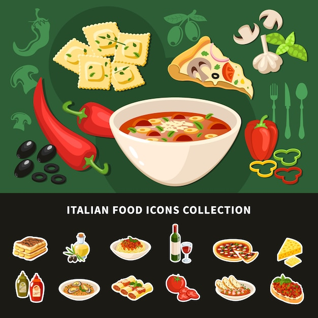Italian food icons collection Free Vector