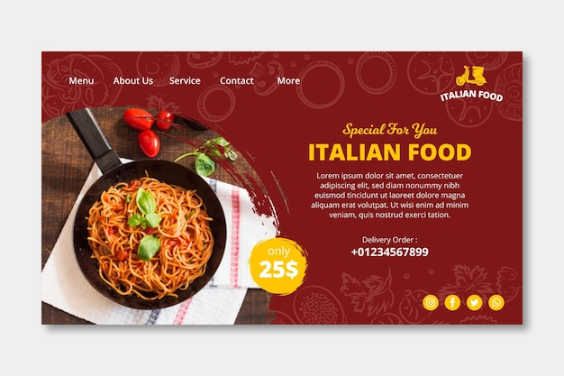 Italian food landing page template Free Vector