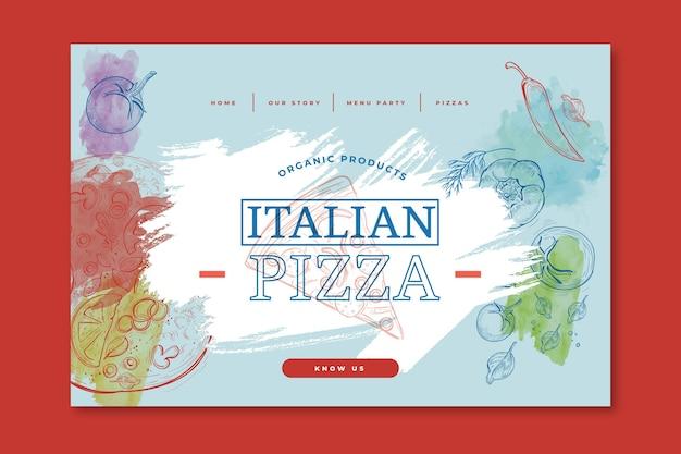 イタリア料理のランディングページ 無料ベクター