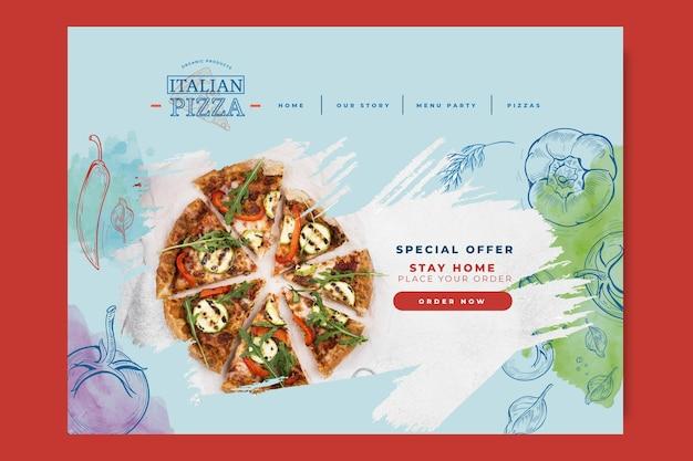 イタリア料理のランディングページ Premiumベクター