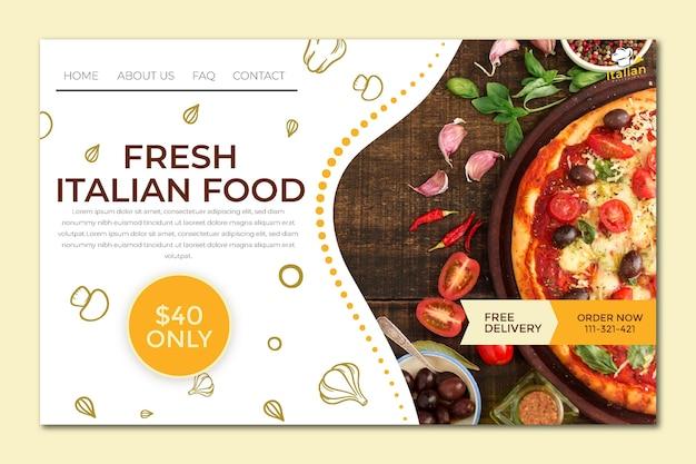 Целевая страница итальянской кухни Бесплатные векторы