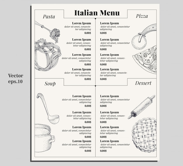 Italian food menu of different pasta, pizza, soup and dessert. Premium Vector