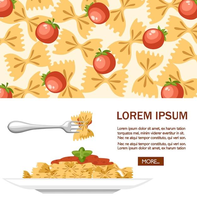Italian food pasta farfalle with tomatoes Premium Vector