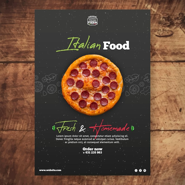 Italian food poster template Free Vector